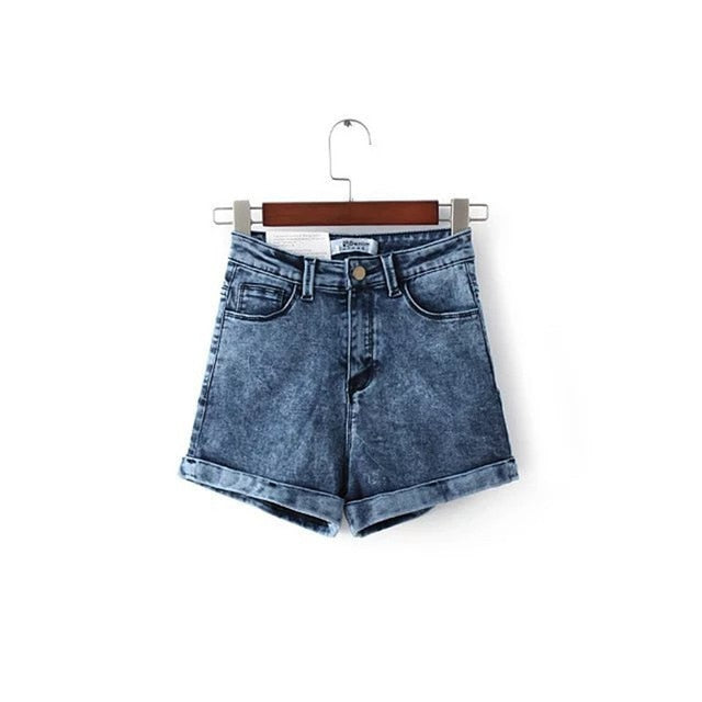 GCAROL Women Euro Style High Waist Denim Shorts Stretch Casual Basic Jeans Shorts High Quality Shorts For Summer Spring Autumn-lilugal