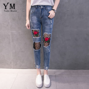 YuooMuoo New Hole Ripped Jeans for Women Fashion Net Design Jeans with Embroidery Rose Push Up Jeans Woman Denim Pants-lilugal