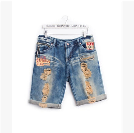 Summer lovers jeans casual holes denim capris embroidery roll up hem shorts male and female Free shipping-lilugal