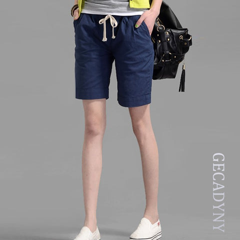 Youth Casual Women Hot Short Feminina Fashion Candy Color Casual Shorts Elastic Waist Women's Linen Collapse Shorts-lilugal
