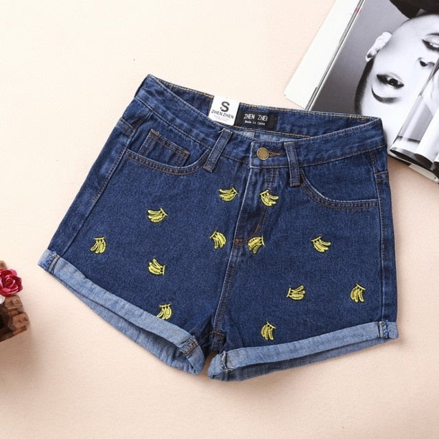 Summer High Waist Denim Shorts Women Banana Embroidery Casual Cotton Short Jeans Shorts For Women's Cloth Female Large size-lilugal