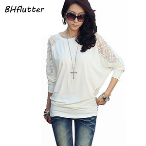 BHflutter Pull Femme 2017 Sweater Women Long Sleeve Sexy Lace Tops Batwing Casual Loose Pullover Women's Sweater and Pullovers-lilugal
