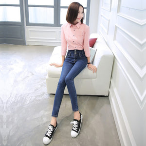 High elastic jeans for women jeans with high waist jeans plus size women jeans femme washed denim pants skinny pencil pants cs5-lilugal