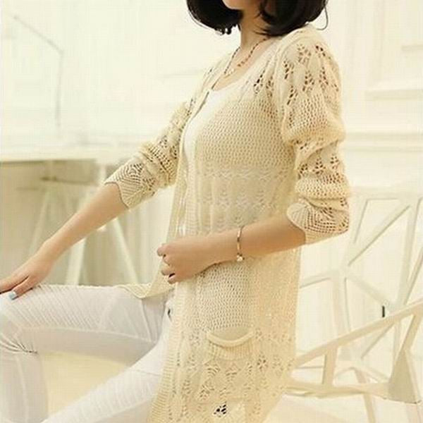 2017 Fashion Knitted Cardigan Loose Pocket Hollow Long Sleeve Women Sweater Female Cardigans Women's Coats Sweaters Outerwear-lilugal
