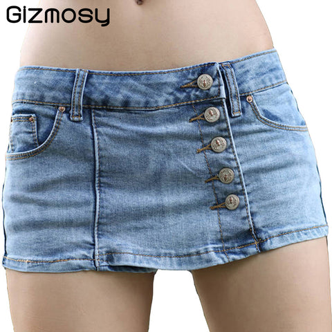Gizmosy Korean Style Shorts Women Slim Fit Blue Denim Fabric Mini Sexy Jeans Shorts Women Short Jeans 5 Buttons Casual BN277-lilugal