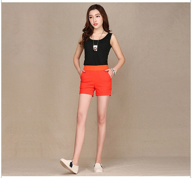 2017 European and American BF summer wind female candy color high waist linen shorts women loose elastic waist shorts plus size-lilugal