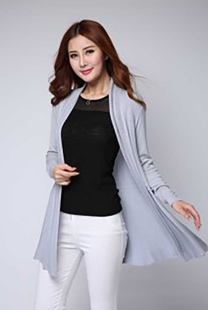 2017 new Casual knitted cardigan Free Shipping White Cardigan Sweater Women Autumn fashion Long style women Cardigan sweater-lilugal