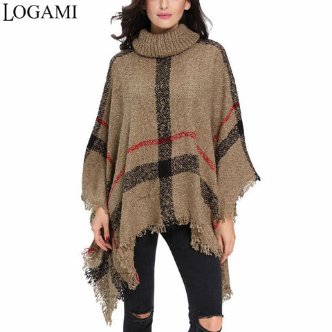 LOGAMI Poncho Style Coat Autumn Winter Poncho Knitting Turtleneck Women Long Ponchos And Capes Sweater Pullovers Pull Femme-lilugal