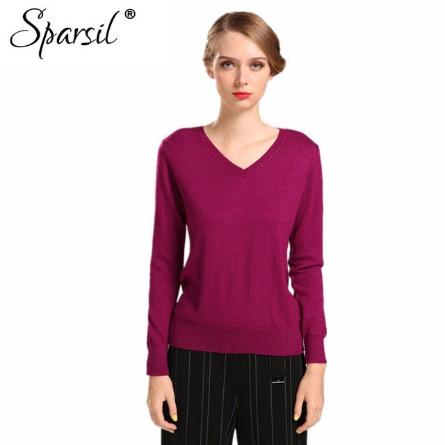 Sparsil Women Autumn Winter Cashmere Blend Sweater V-Neck Pullovers Long Sleeve Jumpers Womens Knitted Sweaters16 Colors S-XXL-lilugal