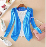 Women Candy Color Slim Thin Lace Hollow Out jacket Women Knitted Cardigan Sweater Tops Irregular Hem Long Sleeve Outwear Coat-lilugal