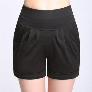 THENANBURONE Plus Size 6XL Summer Shorts Women High Elastic Waist/Pocket Shorts Leisure Streetwear Large Loose Short Trouser-lilugal
