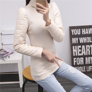 Women's vest down cotton turtleneck sweater sleeves thickening sweater leather basic female PU sleeve patchwork winter sweaters-lilugal