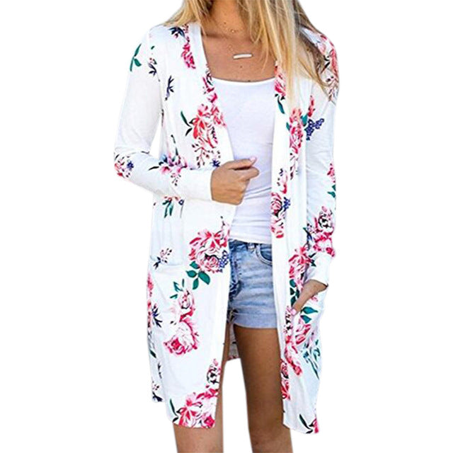 Summer Coat Woman Kimono Jacket Casual Floral Cardigans Jackets Long Sleeve Loose Coat Tops Tee Tunic Mujer Femme 2017 WS1105U-lilugal