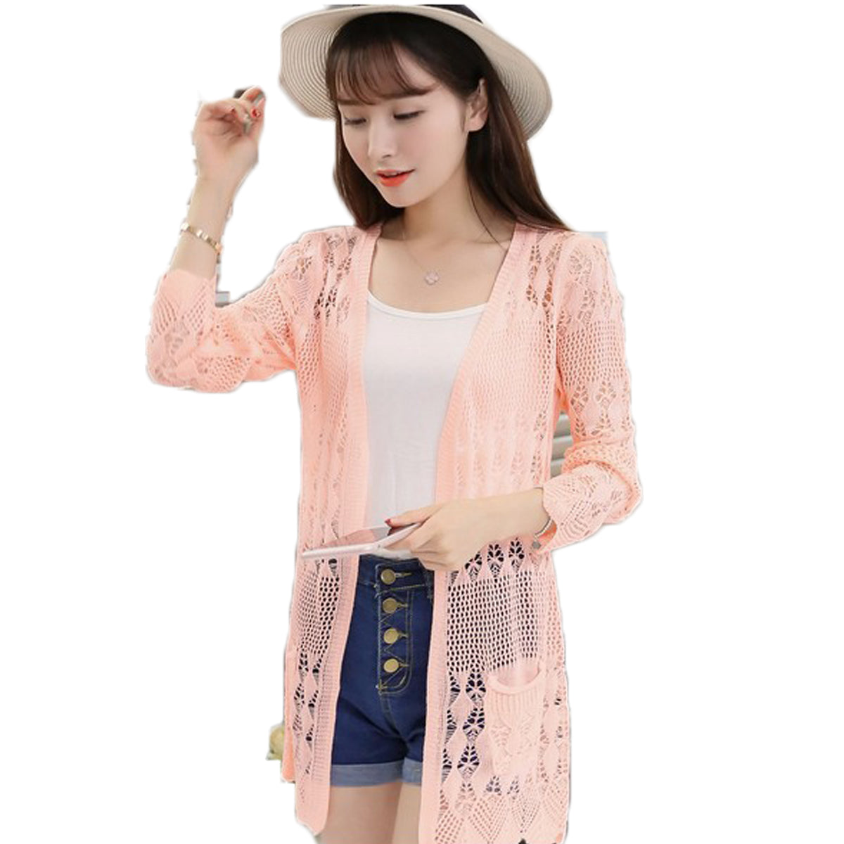 2017 Ladies Crochet Tops Summer Hollow Out Knitted Sweaters Cardigan Rebecas Mujer Fashion Women Beach Cardigan Spring Autumn-lilugal