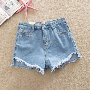 2017 Women's Fashion Brand Vintage Tassel Slim Fit Bore Hole Loose High Waisted Short Jeans Punk Sexy Hot Woman Denim Shorts-lilugal