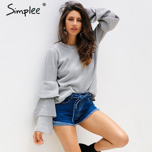 Simplee Knitting ruffles winter sweater women Loose flare sleeve pullover female 2017 Casual party knit pull femme jumper-lilugal