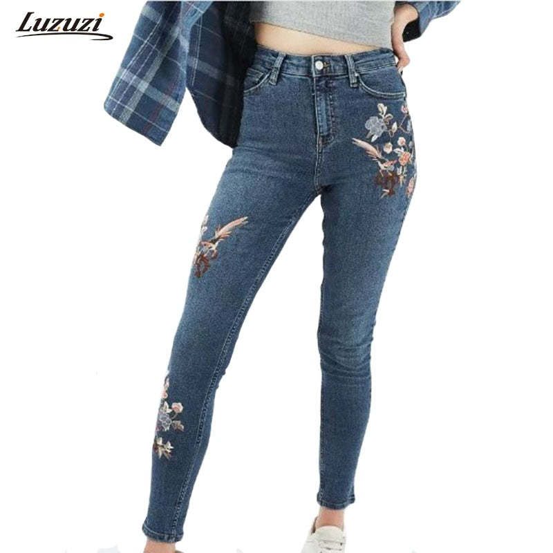 1PC Flower Embroidered Jeans Woman Denim Pencil Pants Women Jeans With Embroidery Skinny Jeans Femme Calca Jeans Feminina Z535-lilugal