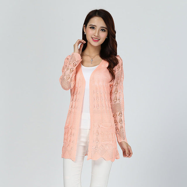 20 Colors Fashion Women Summer Lace Cardigans High Street White Cardigan Casual Knitted Yellow-lilugal