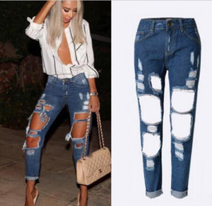 CWLSP Women Plus Size Vintage Torn Jeans Casual Washed Holes Ripped Denim Jeans Sky Blue White Trousers Female Pants QL1029-lilugal