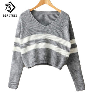 4 Colors!Spring Autumn Women Sweaters Pullovers V-neck Crop Tops Striped Long Sleeve Knitted Sweater Roupas Femininas T4N510-lilugal