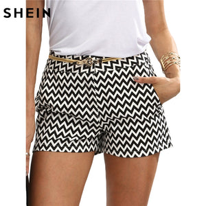 SHEIN Woman Shorts Summer New Arrival Black and White Mid Waist Button Fly Casual Pocket Cotton Straight Shorts-lilugal