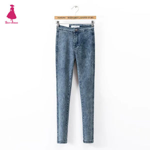 FIRSTTO Vintage High Waist Skinny Slim Jeans Stretch Legging Long Pencil Pants Fit Denim Trousers Street Women 4 Colors-lilugal