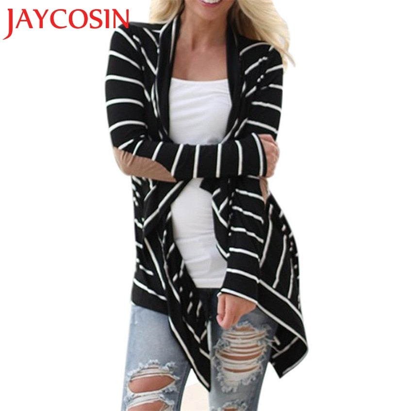 Hot Sales 2017 Autumn Outerwear Women Long Sleeve Striped Printed Cardigan Casual Elbow Patchwork Knitted Soft Sweater Plus Size-lilugal