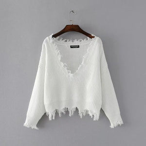 New Fashion 2017 Pullover Ripped Hole Sweaters Loose Jumper Casual White Sweater Women Knitting Sweaters Pull Long Sleev-lilugal