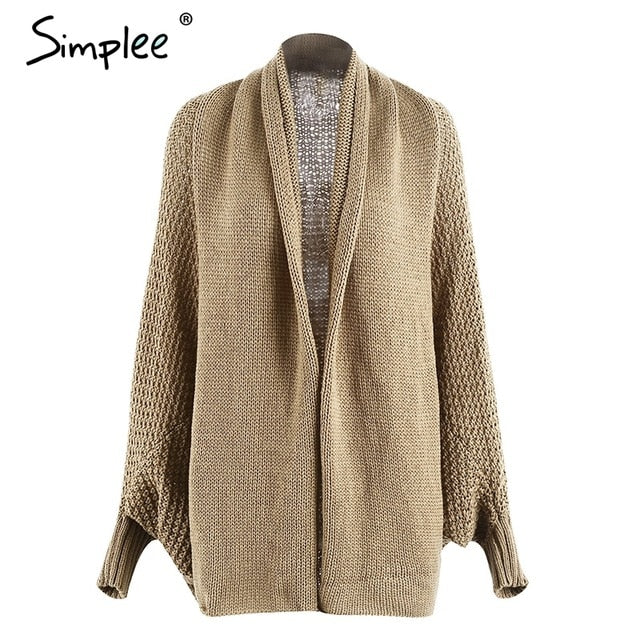Simplee Batwing knitted shrug sweater women Autumn winter fashion tricot warm jumper sweater oversize shawl cardigan sweaters-lilugal