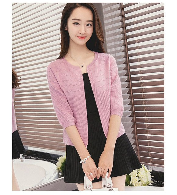 2016 New Korean Autumn Candy Colors Sweater Cardigans Women Slim Round Neck Short Paragraph Coats Feminino Capes And Ponchoes-lilugal