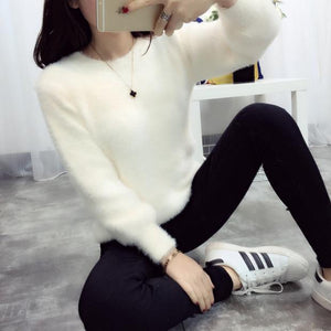 2016 New Winter Casual Sweater Women Long Sleeve Loose Thick Turtleneck Pullovers Female Solid Mohair Ladies' Sweater Coat-lilugal