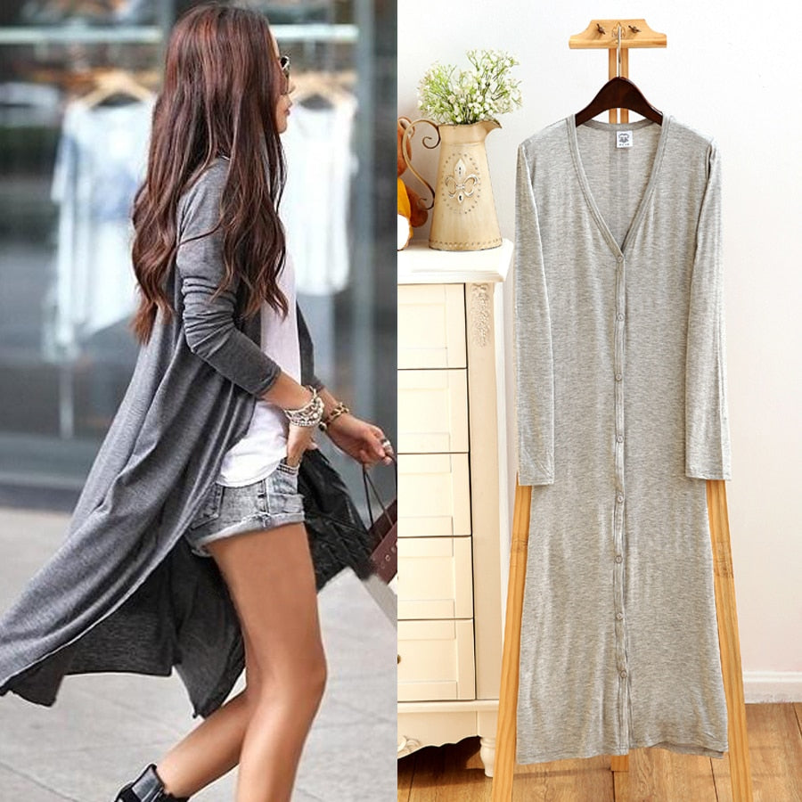 2017 spring Thin Kimono Long Cardigan 13 Colors Modal gilet femme manche longue Women Outerwear cardigans coats Black/Gray coat-lilugal