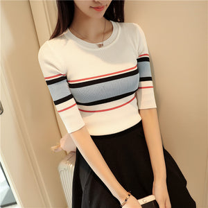 2017 New Fashion High Quality Brand Spring Summer Sweater Women thin short-sleeved O-neck Geometric Striped Knitted Sweaters-lilugal