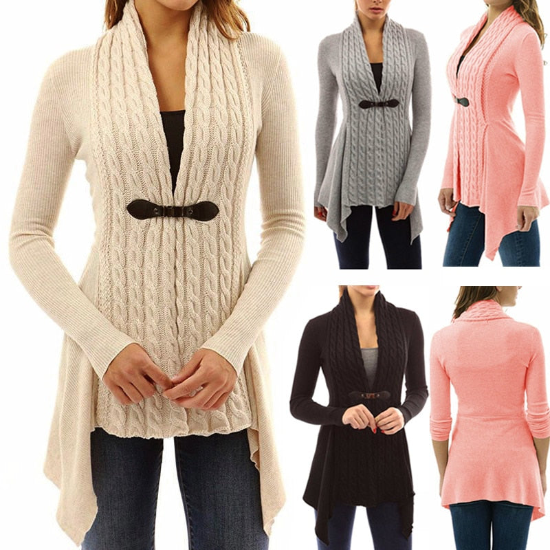 Fashion Women Long Sleeve Knitted Sweater Jumper Ladies Knitwear Cardigan Spring Autumn Coat Tops H9-lilugal