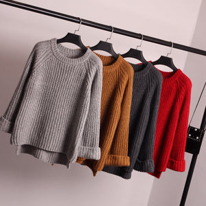 of the new winter sweater loose coarse needle sleeve head all-match female knitted sweater coat thick dress shirt-lilugal