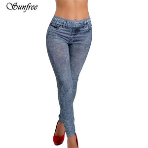 Sunfree 2016 New Hot Sale Womens Denim Snowflake Skinny Stretch Sexy Pants Soft Tights Leggings Brand New High Quality #GV5650-lilugal