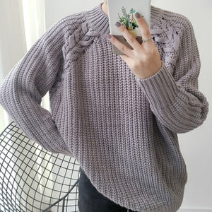 Women'S Kawaii Solid Color Twisted Raglan Sweater Korean Coarse Knitting Jumper Thick Cute Retro Loose Pullover For Women-lilugal