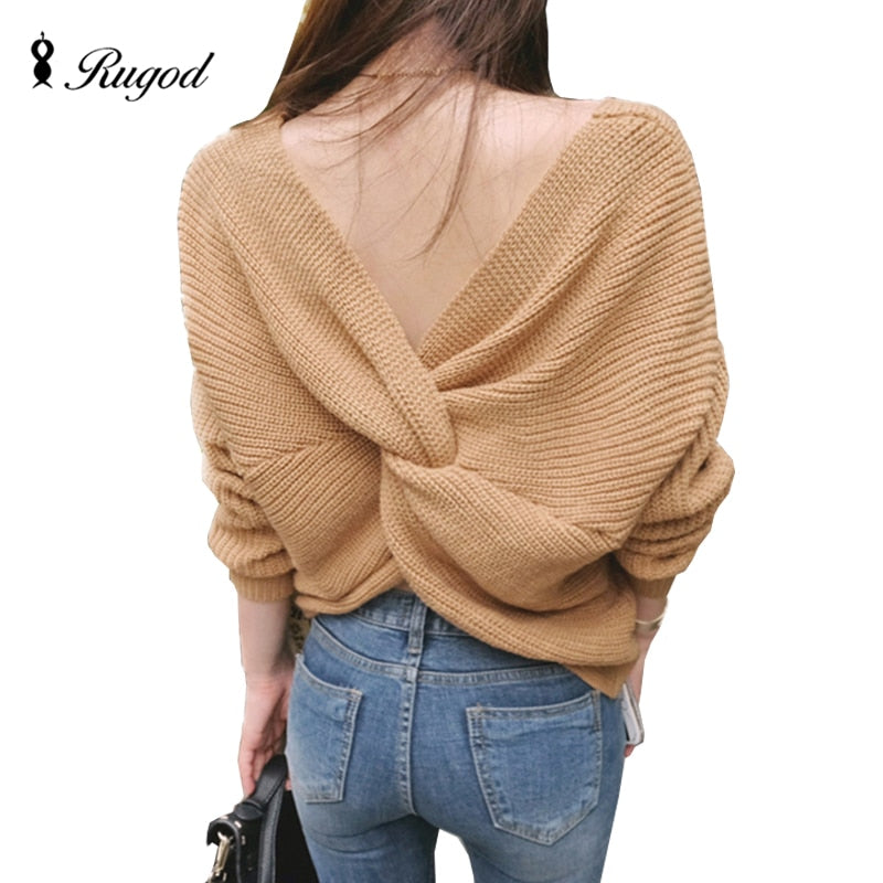 Rugod Autumn New Sexy Off Shoulder Sweater 2017 Pull Femme V Neck Cross Back Women Oversized Sweaters Long Sleeve Jumpers-lilugal