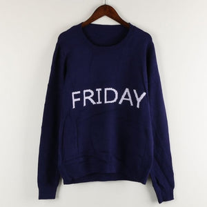 women sweaters and pullovers week letters pattern sweater knitting round neck pullovers jumper tricot knitwear cropped feminino-lilugal