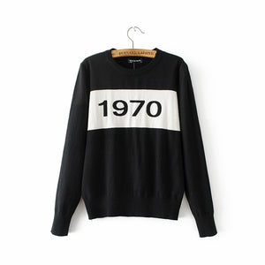 Women 1970 letter pullover Long Sleeve Sweater hot fashion star top Letter 1970 Knitting Tops-lilugal