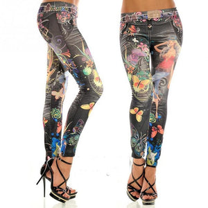 Hot Sale Sexy Buttlefly Flower Printed Imitation Jeans Leggings Fashion Women Colorful Painted Floral Imitated Jeans Legging-lilugal