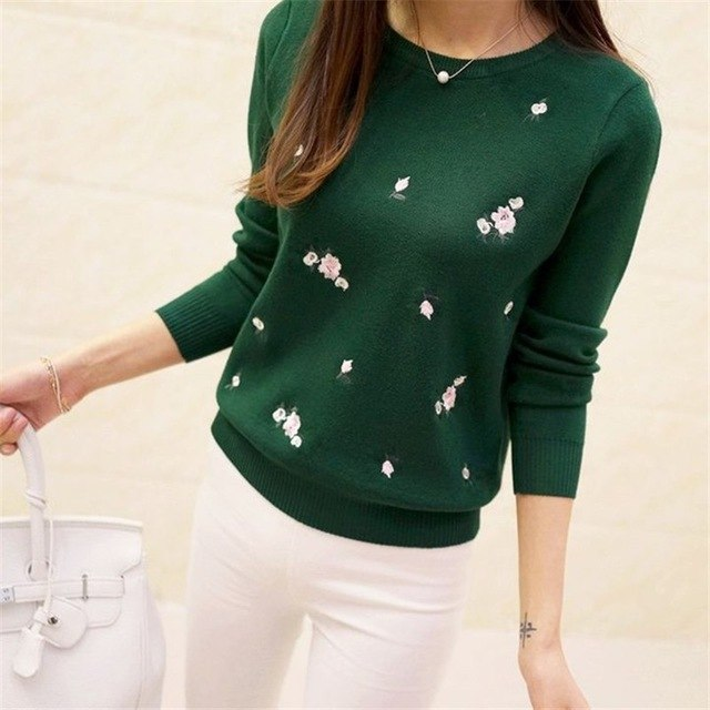 Winter Sweaters 2017 Women Embroidery Ladies Pullover Female Autumn High Elastic Tricot Jumper Fashion Winter Tops Pull Femme-lilugal
