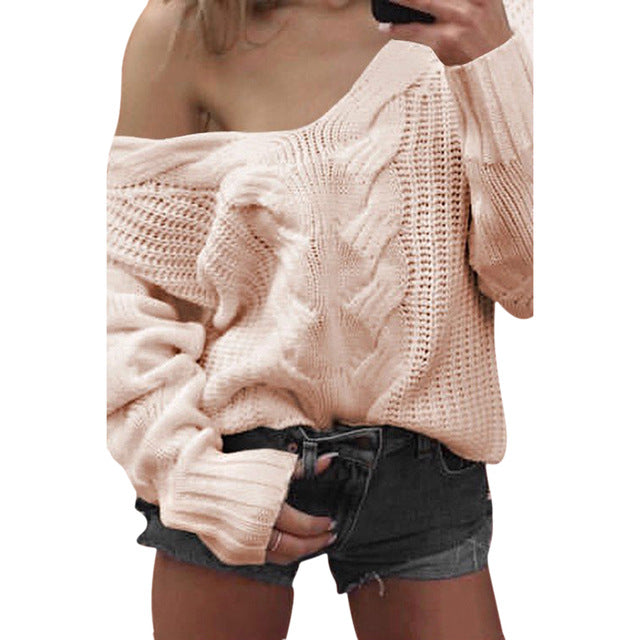LASPERAL Winter Sexy Deep V-Neck Twist Knitted Sweaters Women Long Sleeve Off Shoulder Sweater Femme 2018 Autumn Outwear Sweater-lilugal