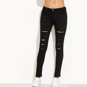 Dotfashion Ripped Skinny Jeans 2017 Autumn Black Mid Waist Button Fly Trousers Ripped Jeans For Women Long Casual Jeans-lilugal