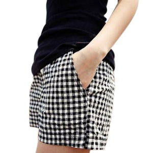 Fashion Women Plaid Shorts Casual Loose Elastic Waist All-Match Summer Cotton Short Pants Plus Size 4XL FS99-lilugal