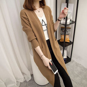 INITIALDREAM Long Knitted Cardigan Coat Women Spring and Autumn Solid Color Pocket Design Female Winter Casual Sweater Coat-lilugal