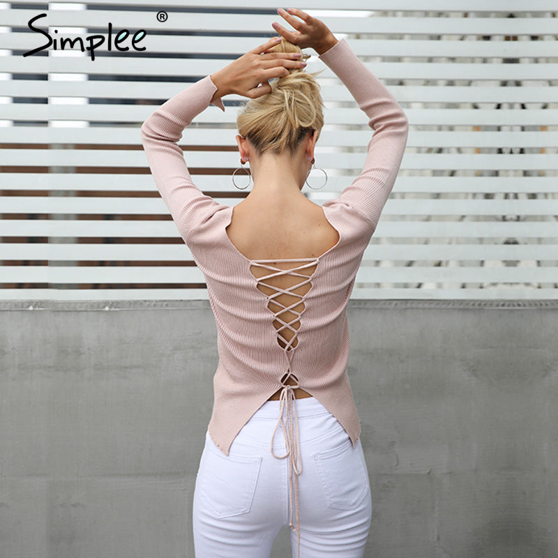 Simplee Sexy backless lace up knitting pullover top Fashion slit cuff autumn winter sweater women Chic pink jumper pull femme-lilugal