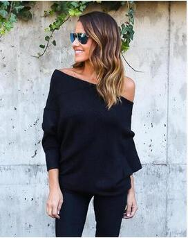 UVKKC Black off the shoulder knitted sweater women autumn elegant batwing sleeve jumper pull femme winter casual loose pullover-lilugal
