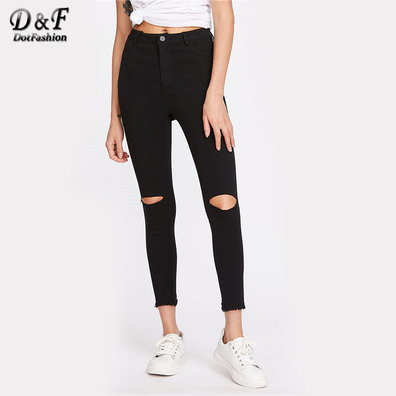 Dotfashion Knee Cut Frayed Hem Skinny Jeans New Black Zipper Fly High Waist Cropped Trousers Women Pocket Ripped Casual Jeans-lilugal