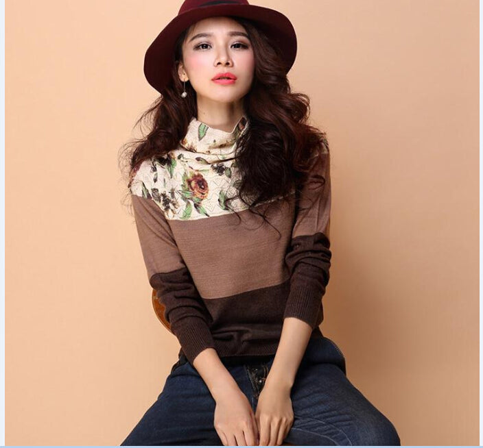 New style autumn winter women's floral pullover sweater slim turtleneck flowers printing sweater-lilugal